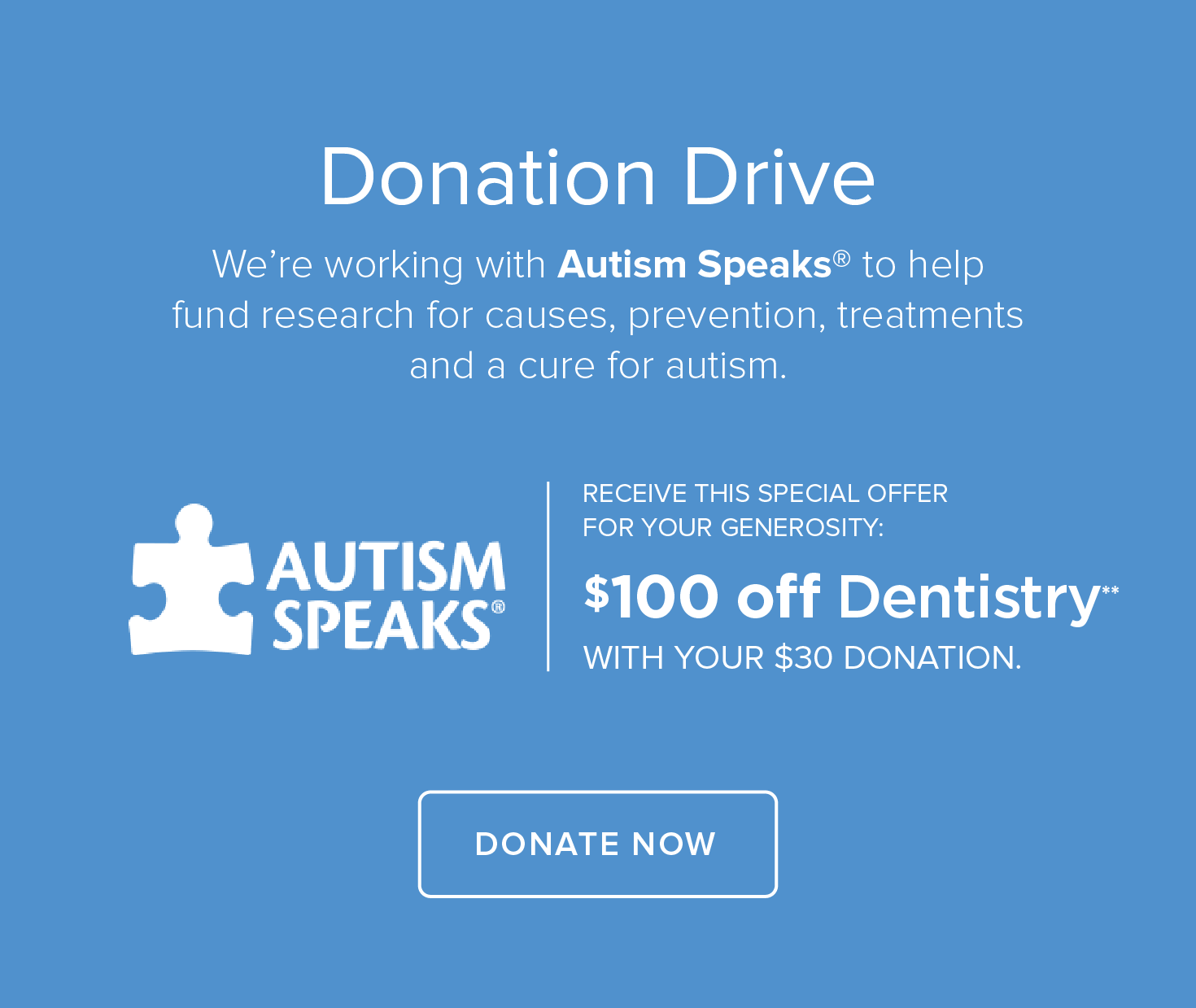 Autism Speaks Donation Drive - Mesquite Dental Group and Orthodontics